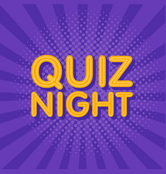 Quiz night neon light sign in retro twist vector