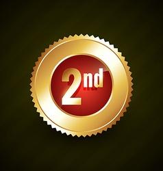 second number golden badge design vector image vector image