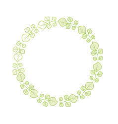 Silhouette beauty circle of leaves decoration vector