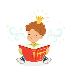 sweet little boy reading a book and dreaming about vector image vector image