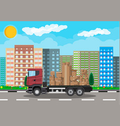 truck transporting brown cardboard package vector image vector image
