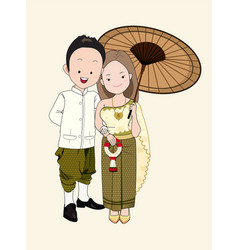 Wedding cartoon bride and groom in thai dress vector