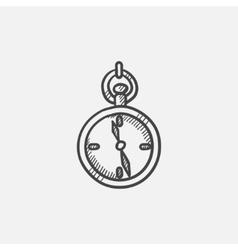 Pocket watch sketch icon vector image