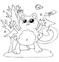 cute halloween cat - monster vector image