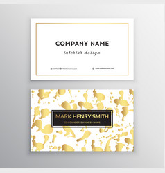 golden business card with brush splashes vector image