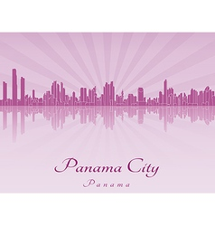 Panama city skyline in purple radiant orchid vector