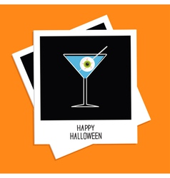 Instant photo martini glass cocktail halloween vector