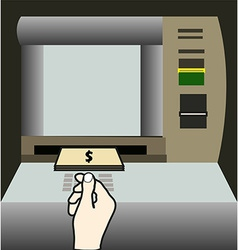 Atm money withdraw background vector