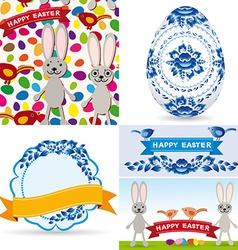 Easter set traditional eggs gzhel flowers birds vector image