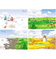 4 seasonal landscapes vector image vector image