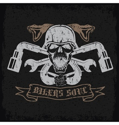 Grunge biker theme label with pistonsflowerssnakes vector