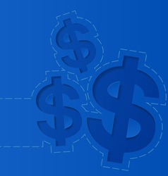 Money dollar sign on blue background vector