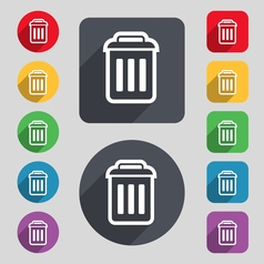 Trash icon sign a set of 12 colored buttons and a vector