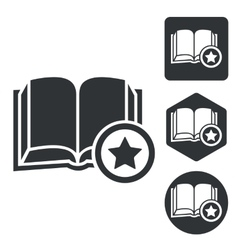 Favorite book icon set monochrome vector