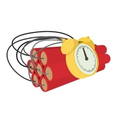 Bomb with clock timer cartoon icon vector