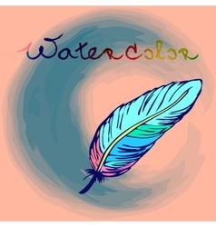 Colorful hand drawn bird feather in a form of vector