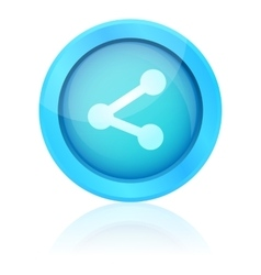 Blue share icon with reflection vector