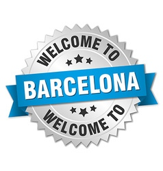 Barcelona 3d silver badge with blue ribbon vector