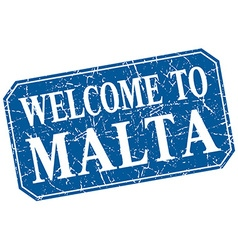 Welcome to malta blue square grunge stamp vector