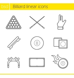 Billiard accessories linear icons set vector image