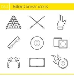 Billiard accessories linear icons set vector