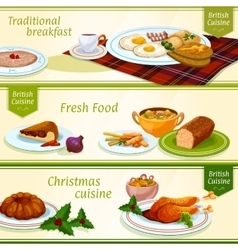 British cuisine breakfast christmas dinner banner vector