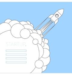 Concept of start up rocket on blue vector image
