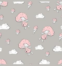 Cute cartoon little mermaid girls seamless pattern vector