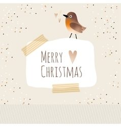 Cute christmas greeting card with bird vector image