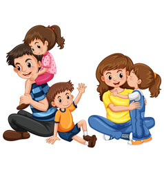 father and mother with three kids vector image vector image