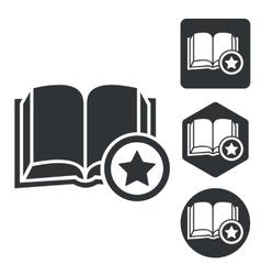 Favorite book icon set monochrome vector