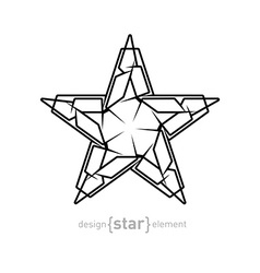 Futuristic star abstract design element on white vector image vector image