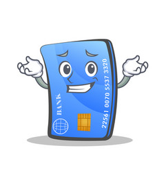 Grinning credit card character cartoon vector