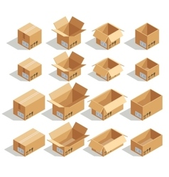 isometric cardboard boxes vector image