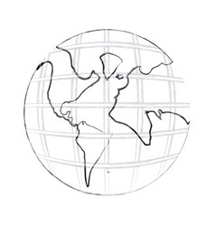 Monochrome contour hand drawing of earth world map vector