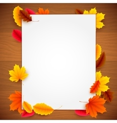 Paper List on Autumn Background vector image