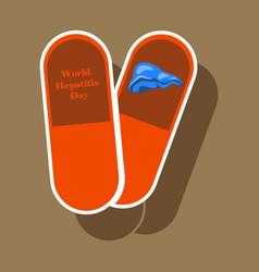 Paper sticker on theme world hepatitis day pills vector