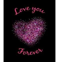 Pink glittering heart vector