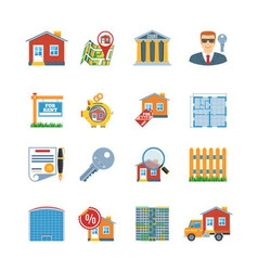 Real Estate Flat Design Icons vector image vector image
