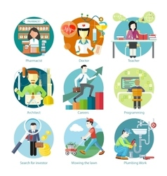 Set of Circle Icons with Different Professions vector image