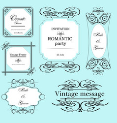 set of ornate frames and ornaments with sample vector image
