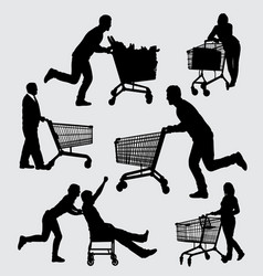 Shopping male and female action silhouette vector