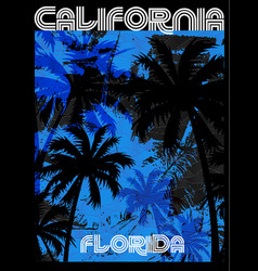 summer tee graphic design florida california vector image vector image