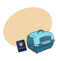 travel with cats dogs - blue plastic carrier and vector image vector image