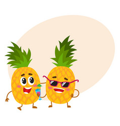 two cute and funny pineapple characters one vector image vector image