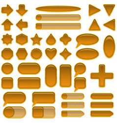 Wood glass buttons set vector
