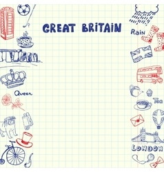 Great britain pen drawn doodles collection vector