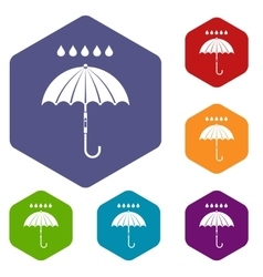 Umbrella and rain drops icons set vector