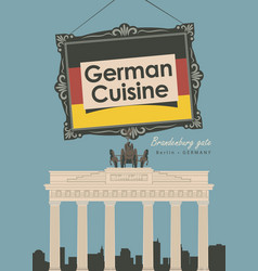 Banner restaurant germany cuisine with flag vector