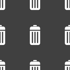 The trash icon sign seamless pattern on a gray vector